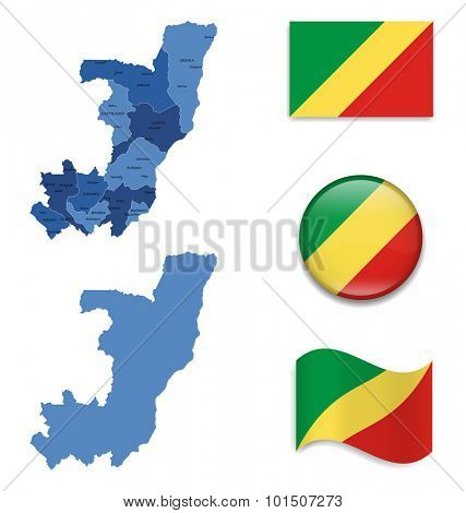High Detailed Map of Congo With Flag Icons