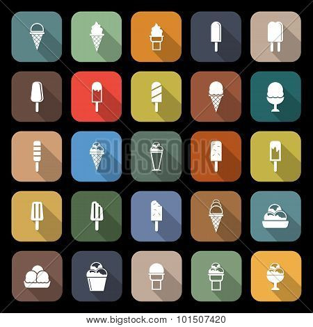 Ice Cream Flat Icons With Long Shadow