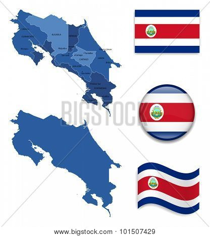 High Detailed Map of Costa Rica With Flag Icons