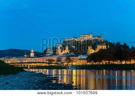 Twilight view of Salzburg old town, Austria