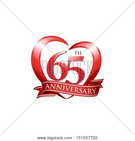 65th anniversary logo red heart ribbon