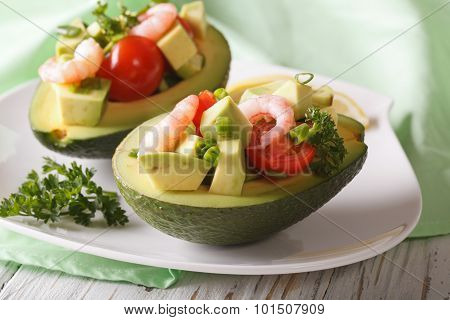 Tasty Appetizer Of Avocado And Shrimp Salad Close-up. Horizontal