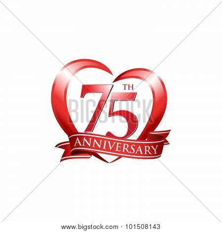 75th anniversary logo red heart ribbon
