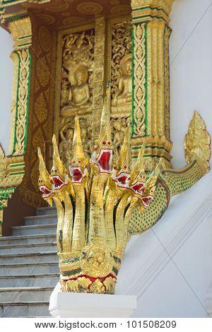 Naga Statue  At Haw Pha Bang , Luang Prabang , Laos