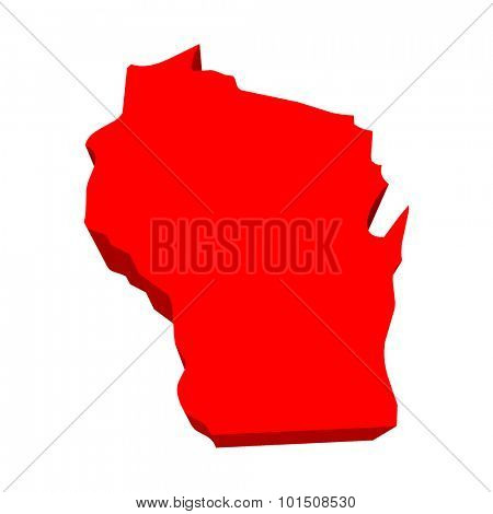 Wisconsin WI Red USA 3d State Map