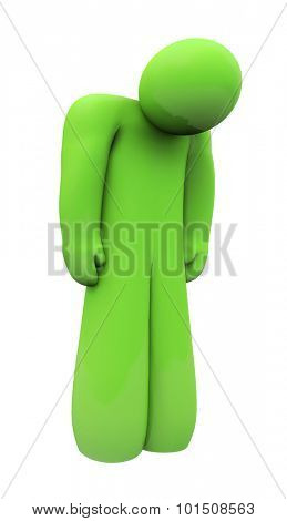 Green sad 3d person with head down, alone, isolated or depressed with down feelings and emotion
