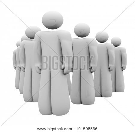 Group of 3d people lined up in attention, a team standing together in a meeting or saluting a leader