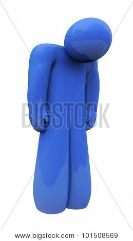 Blue sad 3d person with head down, alone, isolated or depressed with down feelings and emotion