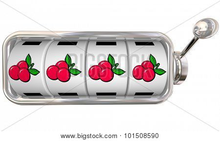 Four cherries on 4 wheels or dials lined up in a slot machine to illustrate a winning jackpot in a casino or gaming area