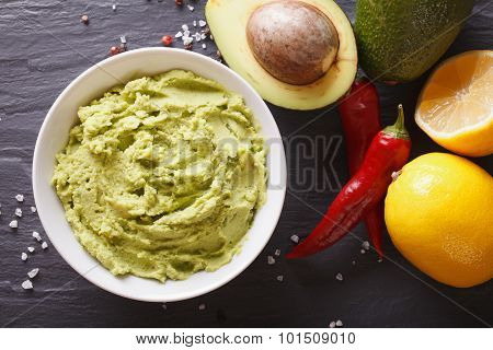 Guacamole Sauce With Ingredients Close-up. Horizontal Top View