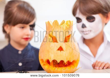 Pretty children are in anticipation of celebrating Halloween