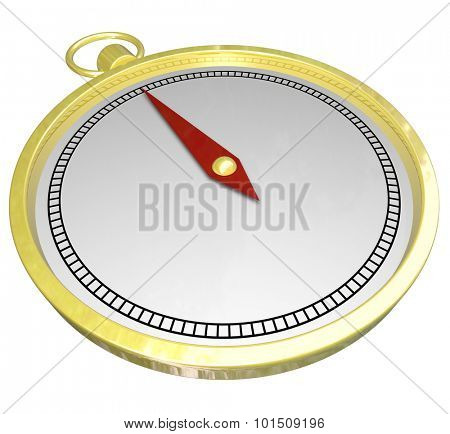 Gold compass with blank white copy space on its face for your copy or text for help, direction, navigation or guidance