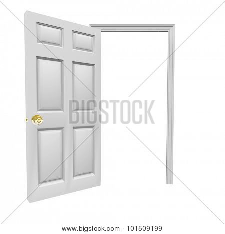 Doorway opening to invite you inside with blank copy space for your message in open door