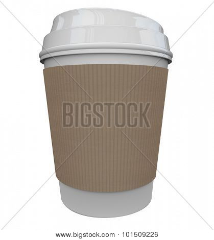 A cup of coffee from a store or restaurant with a holder sleeve to help wake you up in the morning with a jolt of caffeine java, with black copy space for your text, word, logo or message