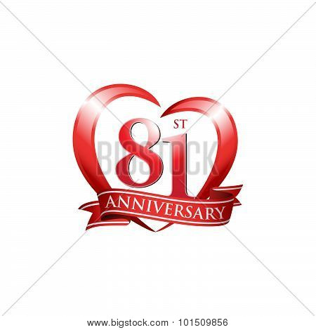 81st anniversary logo red heart ribbon