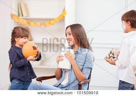 Beautiful friendly family is celebrating Nut-Crack Night