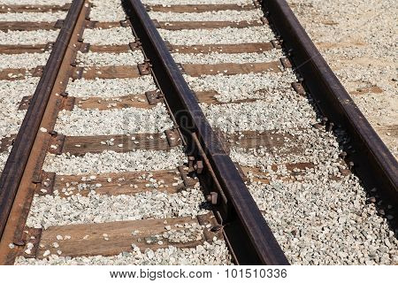 The railway junction. Railroad rails
