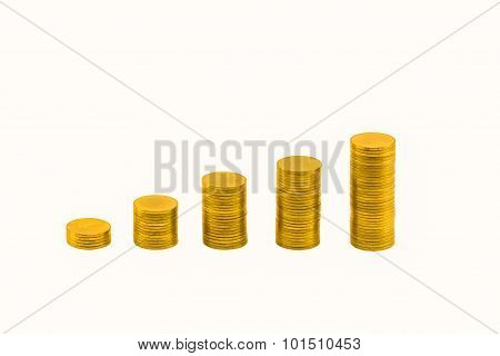 Pile Of Golden Coins And Graph.