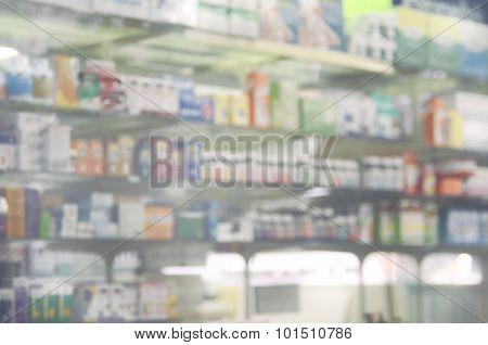 Blurred Medicine On Shelves.drugstore Background.