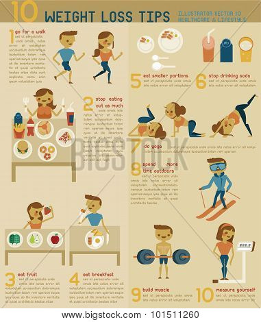 10 weight loss tips vector