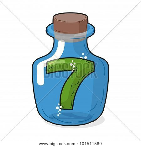 Seven Scientific Bottle For Laboratory Research. Figure 7 Magic Bottle With A Wooden Stopper. Vector