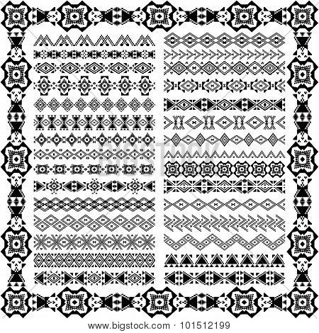 Set Of Borders In Ethnic Tribal Style. 30 Pattern Brushes Inside