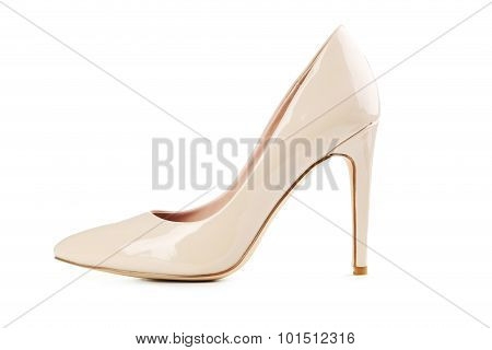 Beige Women's High-heeled Shoes Isolated On A White
