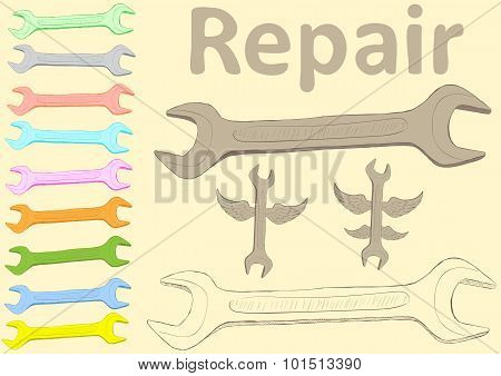 Clipart with wrenches