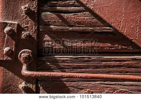 Wooden texture planks wall for old vintage background. Old wooden door background