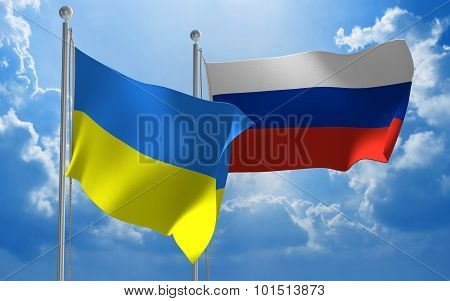 Ukraine and Russia flags flying together for diplomatic talks