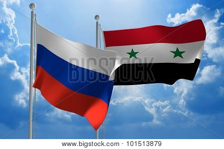 Russia and Syria flags flying together for diplomatic talks