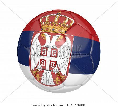 Football, also called a soccer ball, with the national flag colors of Serbia