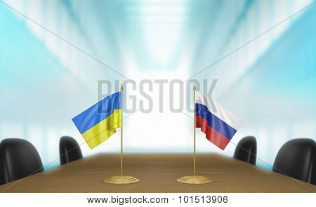 Ukraine and Russia relations and trade deal talks 3D rendering