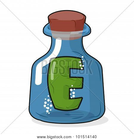 E In Magic Bottle. Letter In A Bottle For Laboratory And Scientific Research. Vector Illustration.