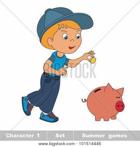 One little baby boy play with piggy bank.
