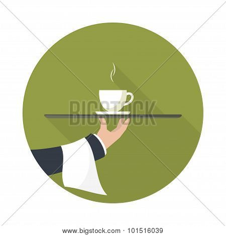 Waiter With Cup Of Green Tea, Vector Icon.
