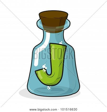 J In Retro Laboratory Flask Bottle. Letter In Old Magic Potion Bottle With Wooden Stopper. Bottle