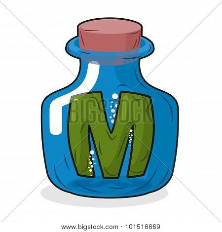 M In Bottle. Green Letter In Blue Glass Jar. Magic Potion Bottle And A Wooden Stopper. Vector