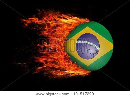 Flag With A Trail Of Fire - Brazil