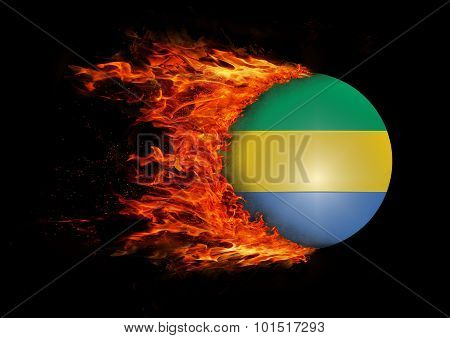 Flag With A Trail Of Fire - Gabon