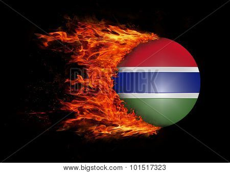 Flag With A Trail Of Fire - Gambia