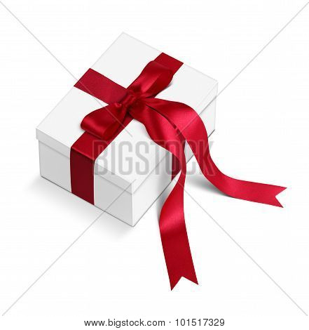 Gift Box With Long Red Ribbons And Bow Isolated On White, Clipping Path