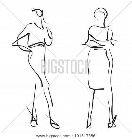 Fashion models. Sketch.