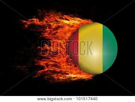 Flag With A Trail Of Fire - Guinea