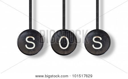 Typewriter Buttons, Isolated - Sos