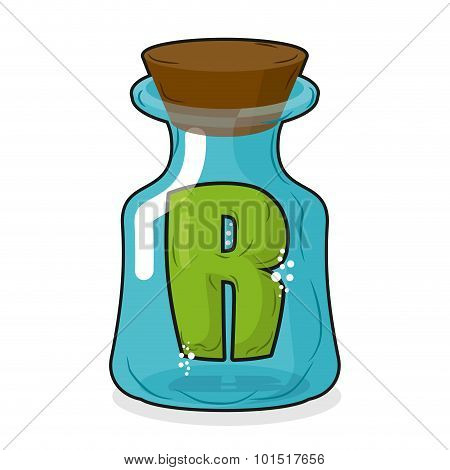 R In  Magic Jar. Letter To A Lab For Tests And Research Bottle. Glass Bottle With A Cork. Magic Tran