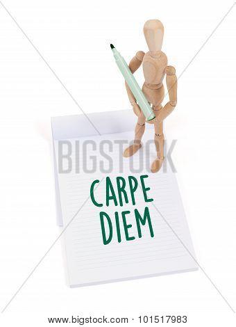 Wooden Mannequin Writing - Carpe Diem