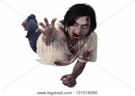 Male Zombie Crouching On The Floor