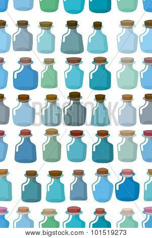 Magic Glass Empty Bottle Seamless Pattern. Vector Background From Magic Pot.