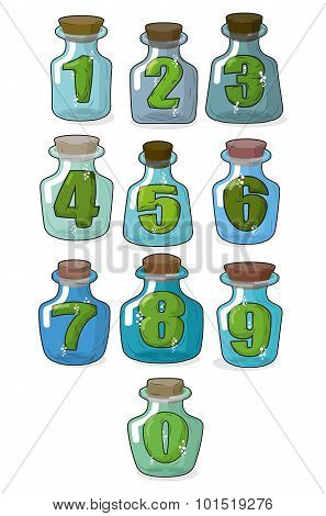 Figures In A Retro Bottle Laboratory For Experimentation And Research. Numbers In Magical Banks With